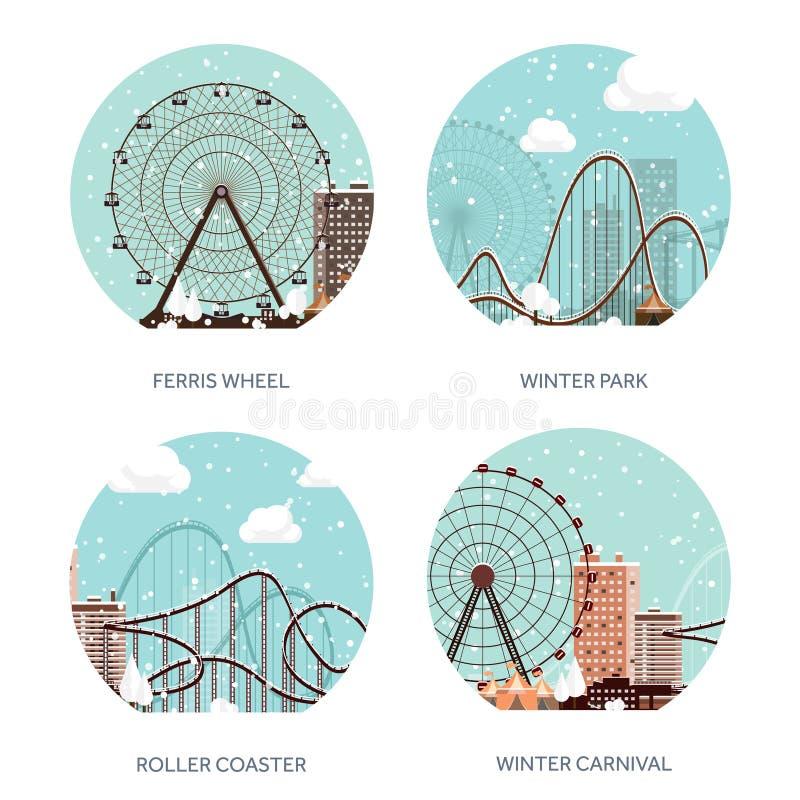Ilustración del vector Ferris Wheel Carnaval del invierno Año Nuevo de la Navidad Parque con nieve Montaña rusa en Viena Prate stock de ilustración