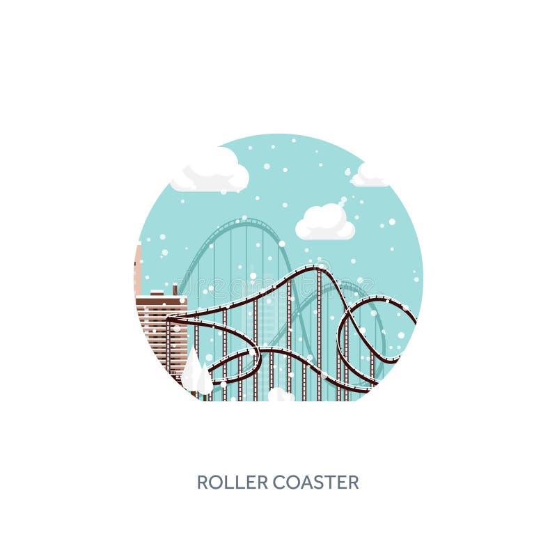 Ilustración del vector Ferris Wheel Carnaval del invierno La Navidad, Año Nuevo Parque con nieve y la montaña rusa libre illustration