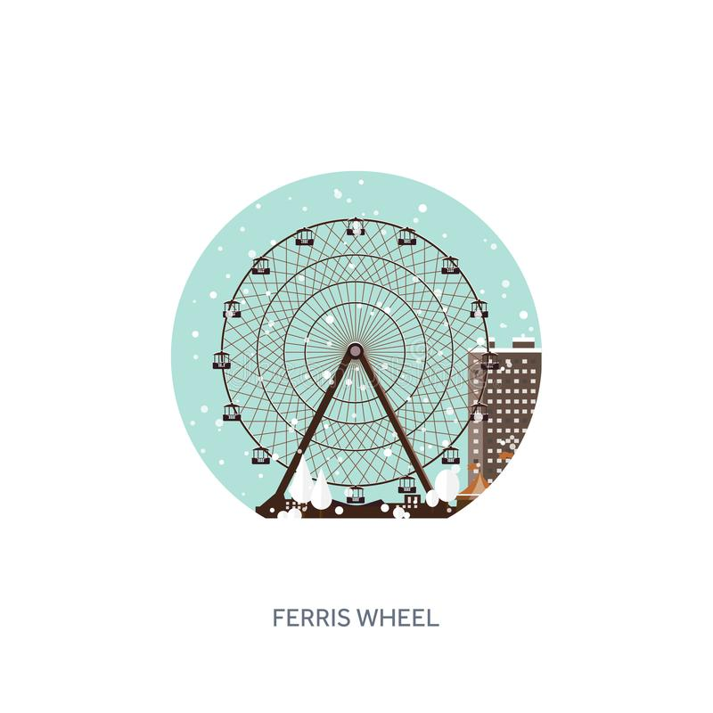 Ilustración del vector Ferris Wheel Carnaval del invierno La Navidad, Año Nuevo Parque con nieve y la montaña rusa ilustración del vector