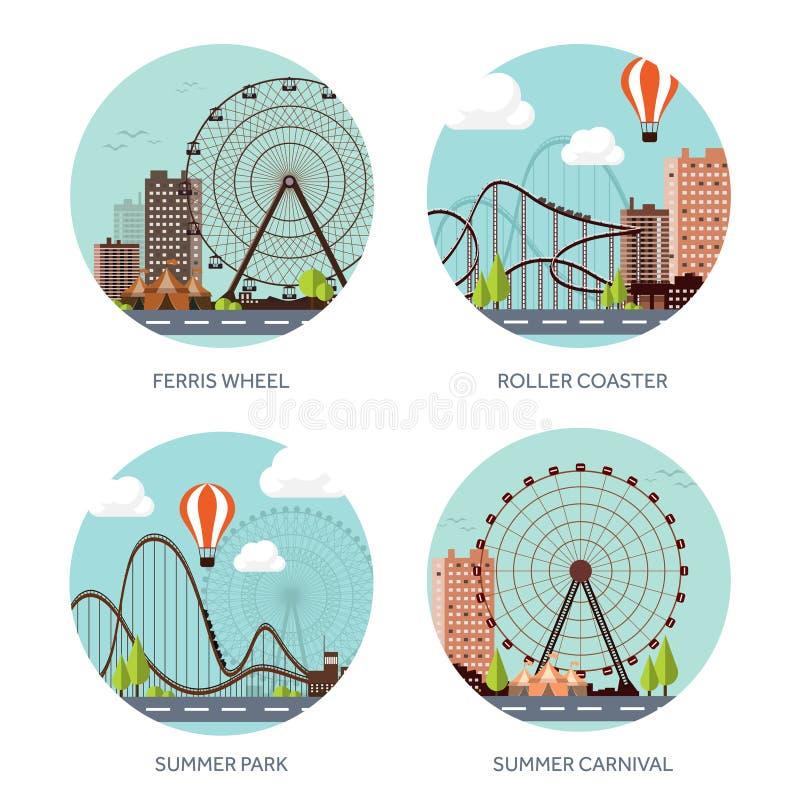 Ilustración del vector Ferris Wheel Carnaval del verano Fondo del Funfair con el parque del circo Montaña rusa en Viena Prate ilustración del vector