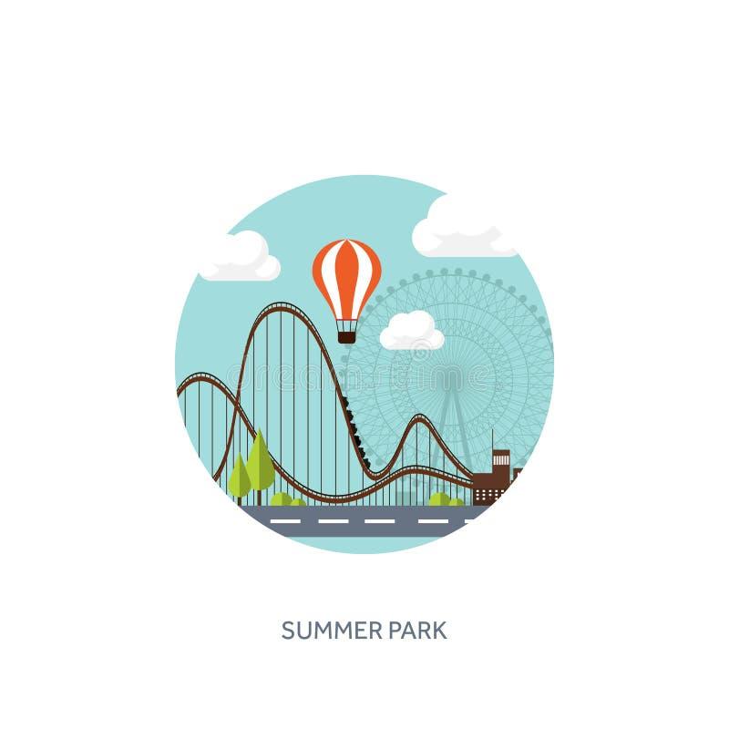 Ilustración del vector Ferris Wheel Carnaval del verano Fondo del Funfair Parque del circo con la montaña rusa libre illustration