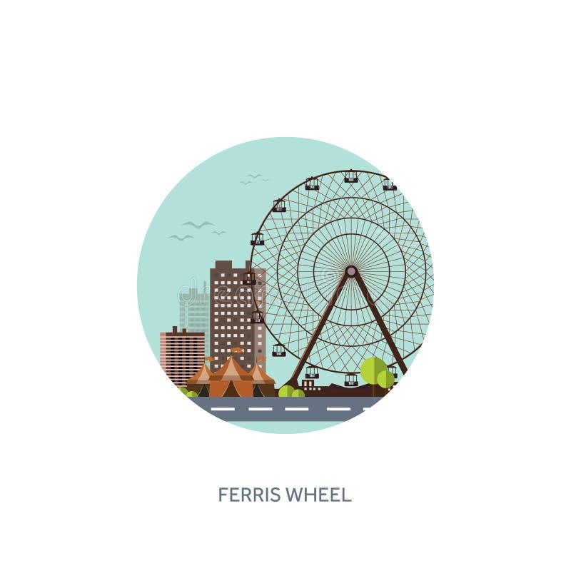 Ilustración del vector Ferris Wheel Carnaval del verano Fondo del Funfair Parque del circo con la montaña rusa ilustración del vector