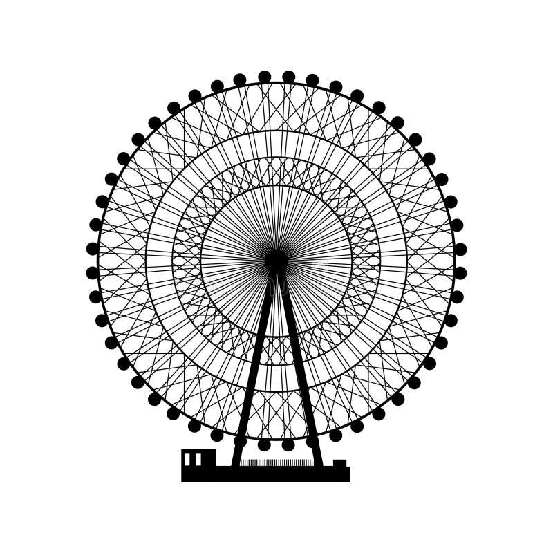 Ilustración del vector Ferris Wheel Fondo del funfair del carnaval stock de ilustración