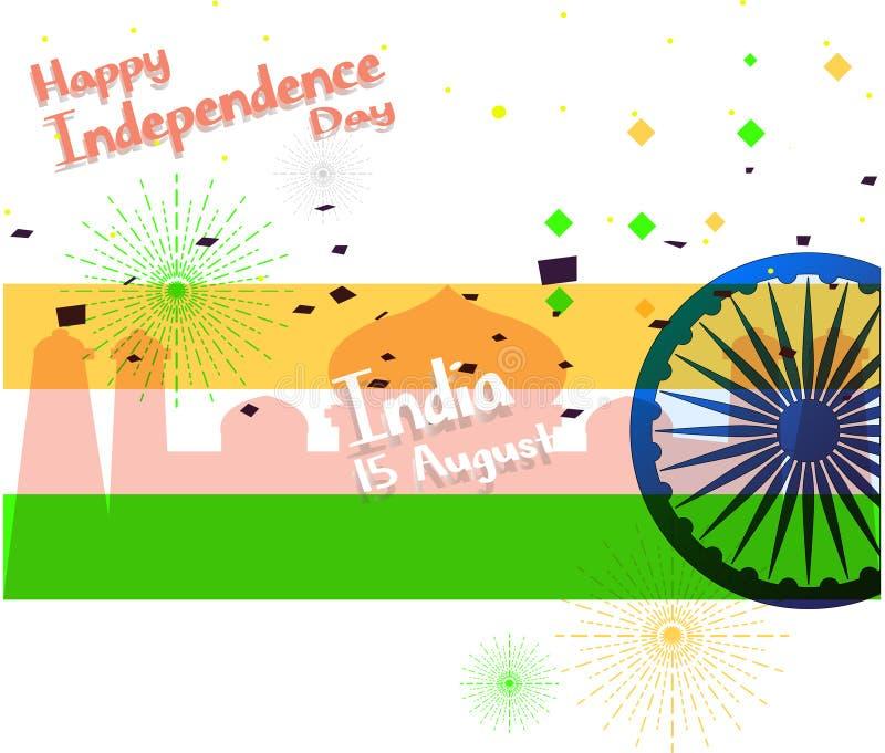 Ilustración del vector Fondo indio creativo del color de la bandera nacional con la rueda de Ashoka el 15 de agosto para el Día d ilustración del vector