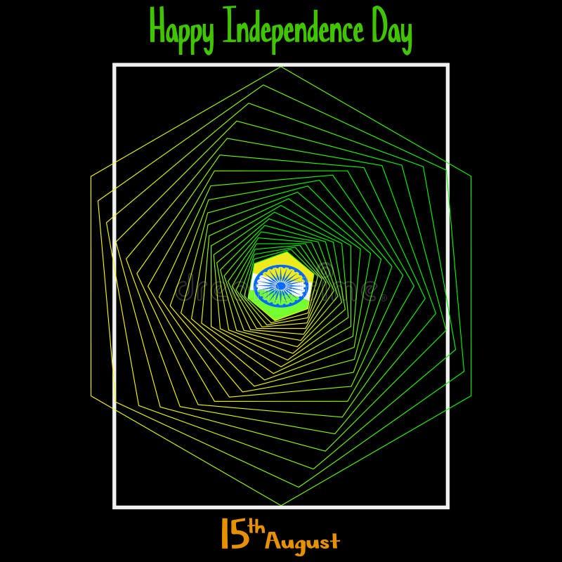 Ilustración del vector Fondo indio creativo del color de la bandera nacional con la rueda de Ashoka el 15 de agosto para el Día d stock de ilustración