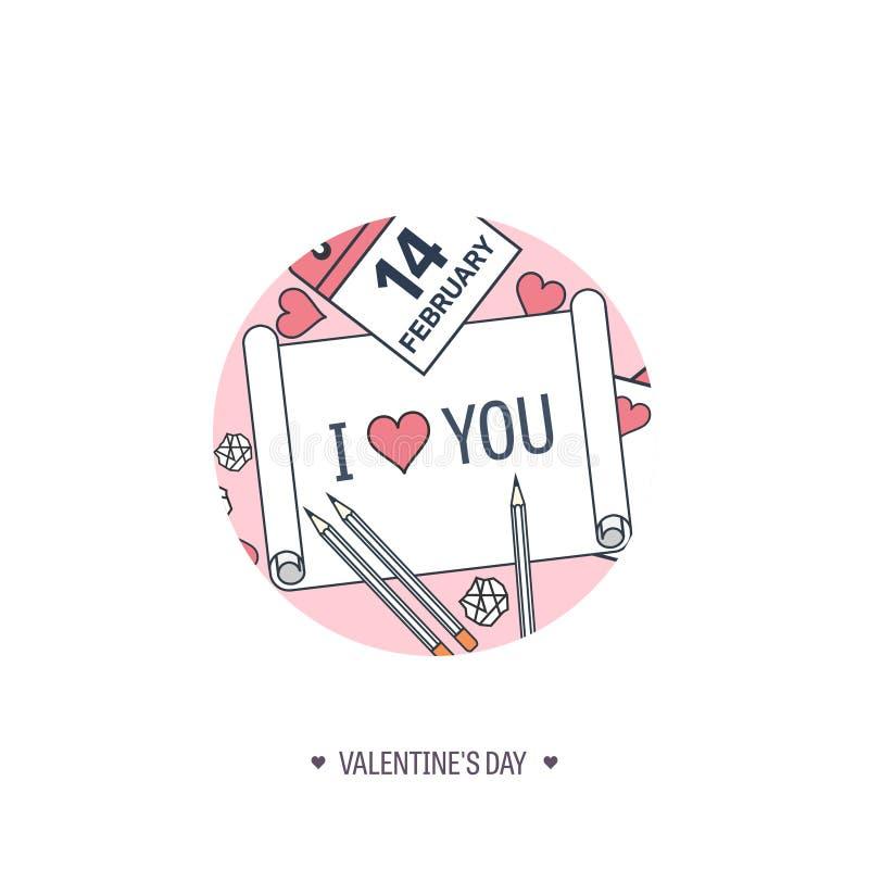 Ilustración del vector Fondo plano con el papel, calendario Amor y corazones Rose roja Sea mi tarjeta del día de San Valentín 14  libre illustration