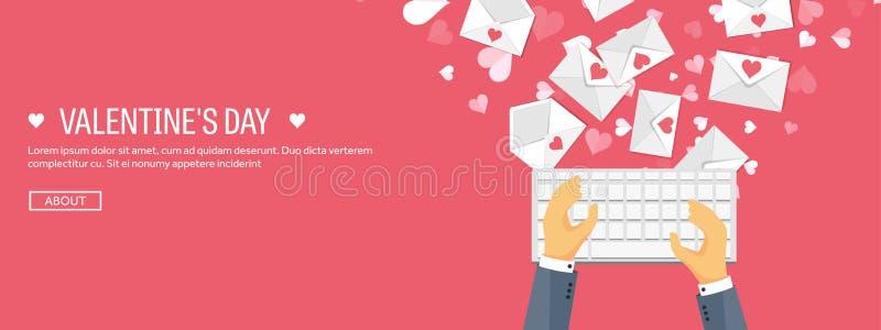 Ilustración del vector Fondo plano con el teclado y el sobre Amor y corazones Rose roja Sea mi tarjeta del día de San Valentín 14 libre illustration