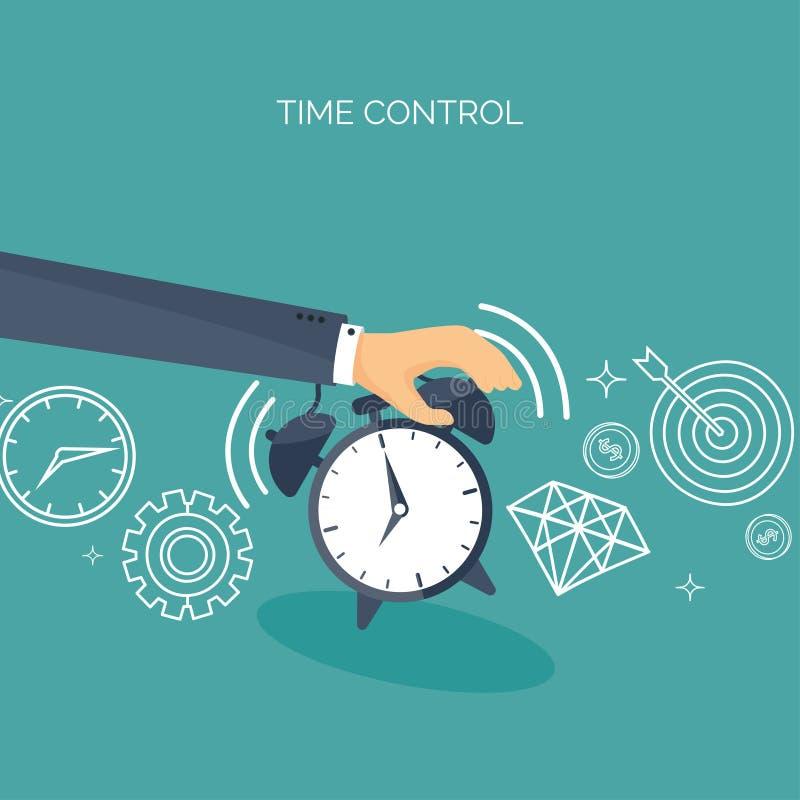 Ilustración del vector Fondo plano de la fecha y hora Gestión de tiempo de planificación alarmar ilustración del vector