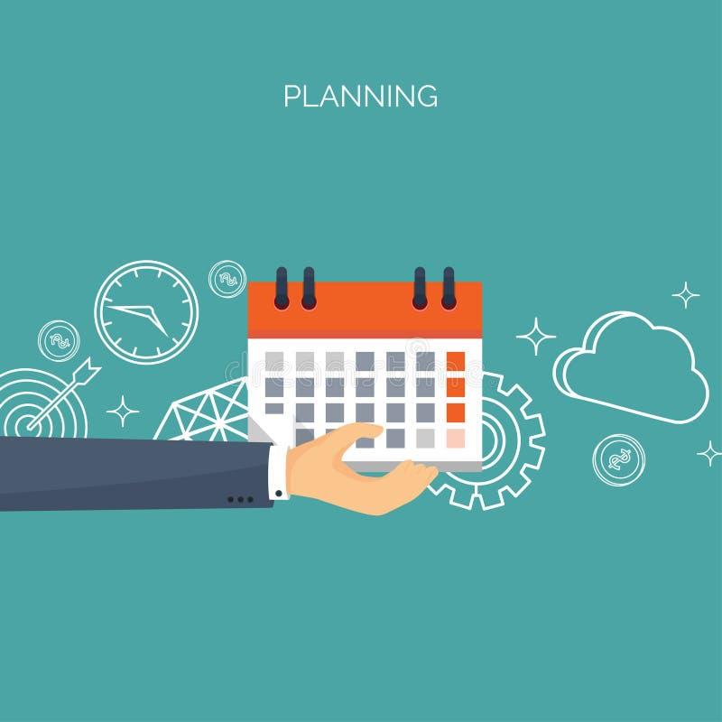 Ilustración del vector Fondo plano de la fecha y hora Planificación Gestión de tiempo stock de ilustración