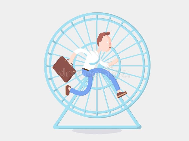 Ilustración del vector Hombre de negocios Jimmy que corre en la rueda libre illustration