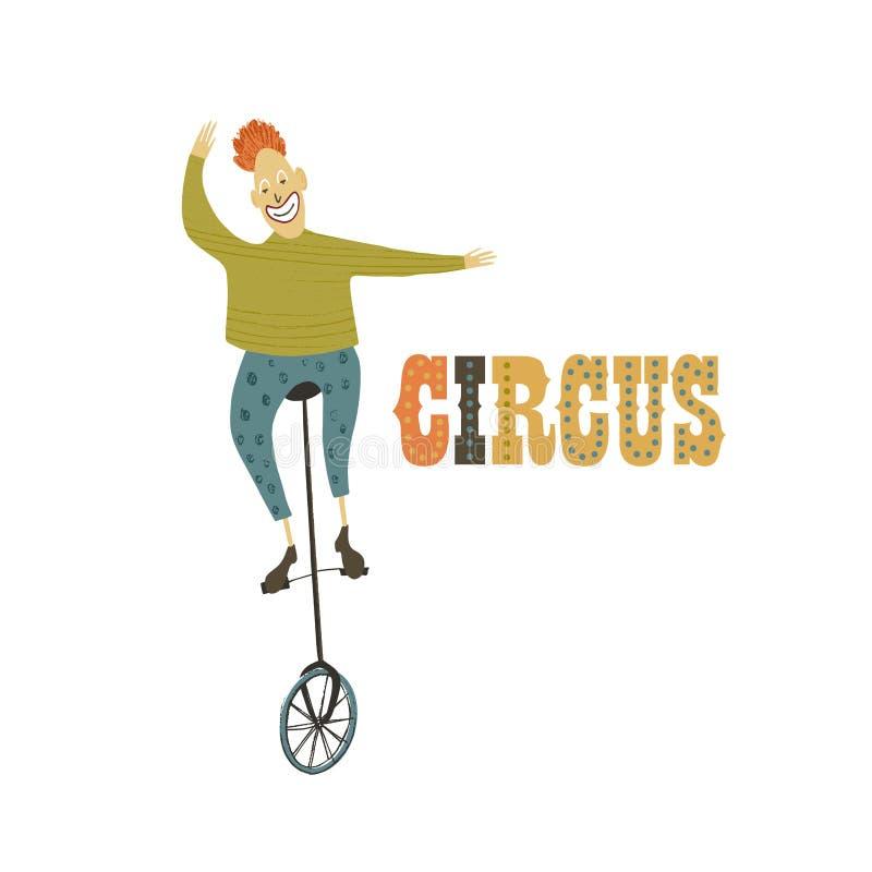 Ilustración del vector Imitación dibujada mano Payaso en la bici del circo Funcionamiento del circo stock de ilustración