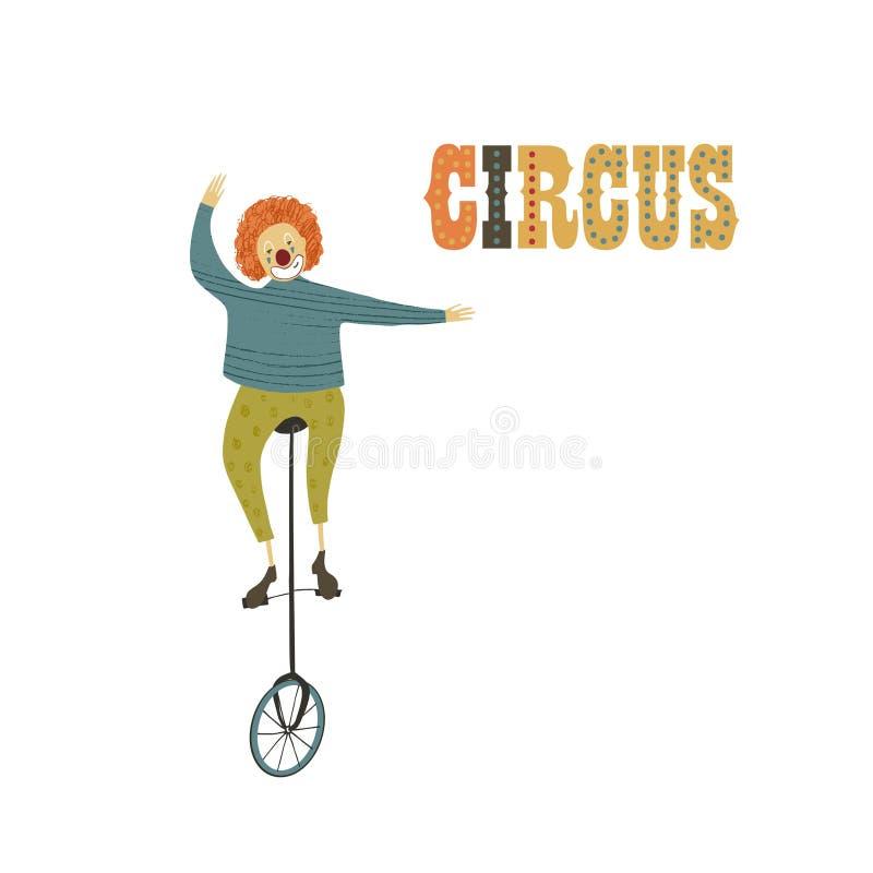 Ilustración del vector Imitación dibujada mano Payaso en la bici del circo Funcionamiento del circo ilustración del vector