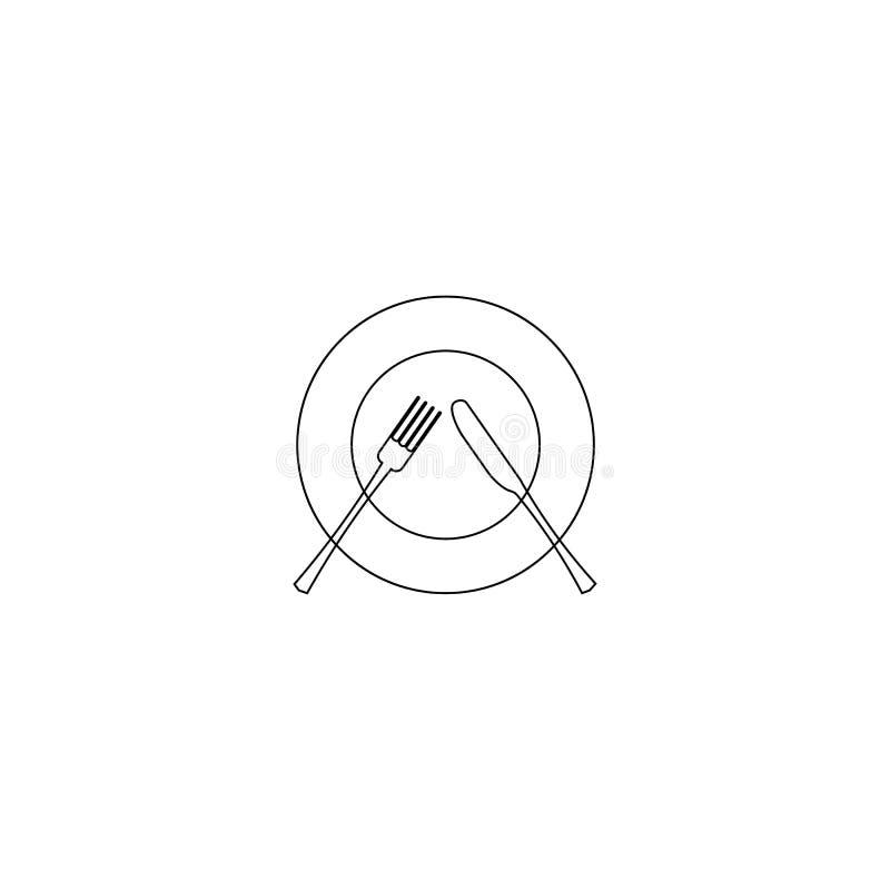 Ilustración del vector línea icono del cuchillo, de la cuchara y de la placa en el fondo blanco Icono del menú del restaurante Re stock de ilustración