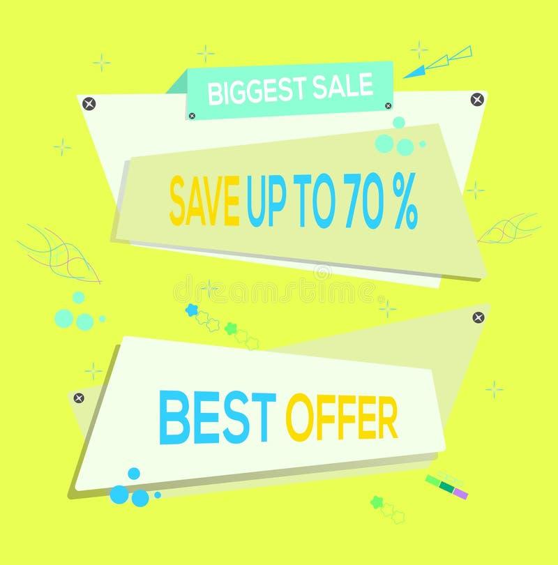 Ilustración del vector La reserva más grande de la venta hasta el 70% APAGADO La mejor oferta Modelo del diseño de la bandera Des ilustración del vector