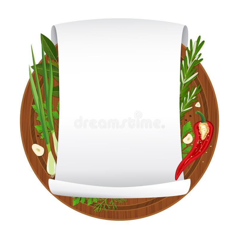 Ilustración del vector La tabla de cortar de madera con las especias y vacia el papel en blanco encrespado ilustración del vector