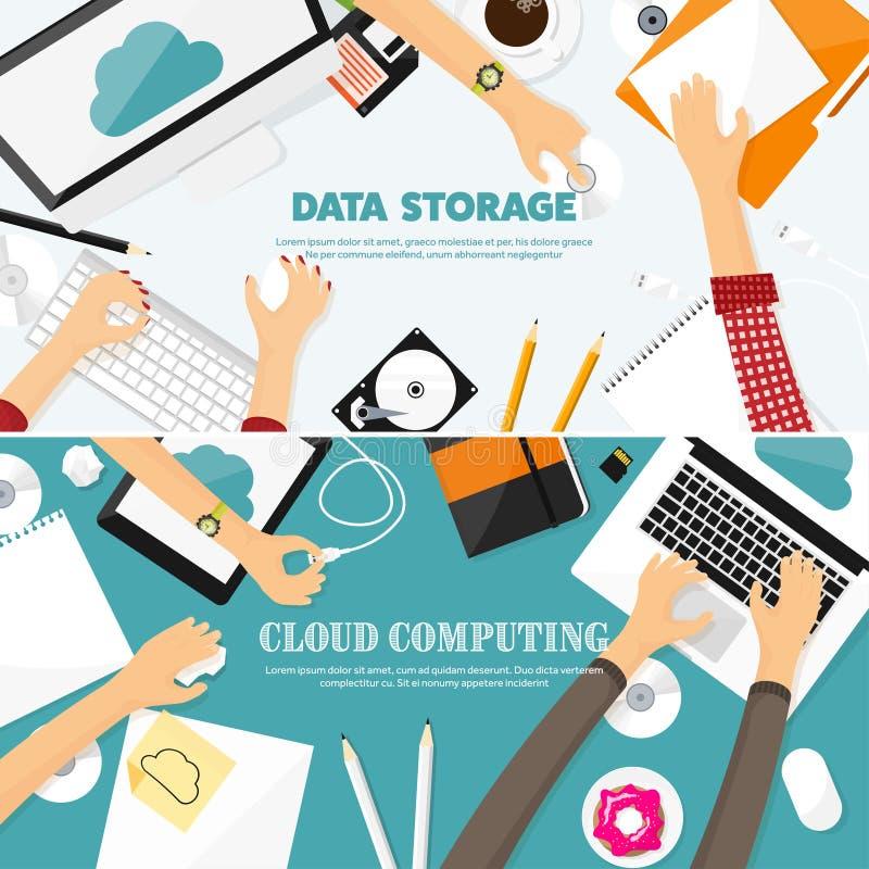 Ilustración del vector Lugar de trabajo, tabla con los documentos, ordenador Fondo computacional de la nube plana Medios, servido libre illustration