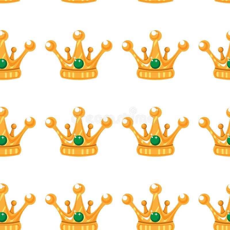 Ilustración del vector Modelo inconsútil de coronas Coronas del oro con las gemas libre illustration