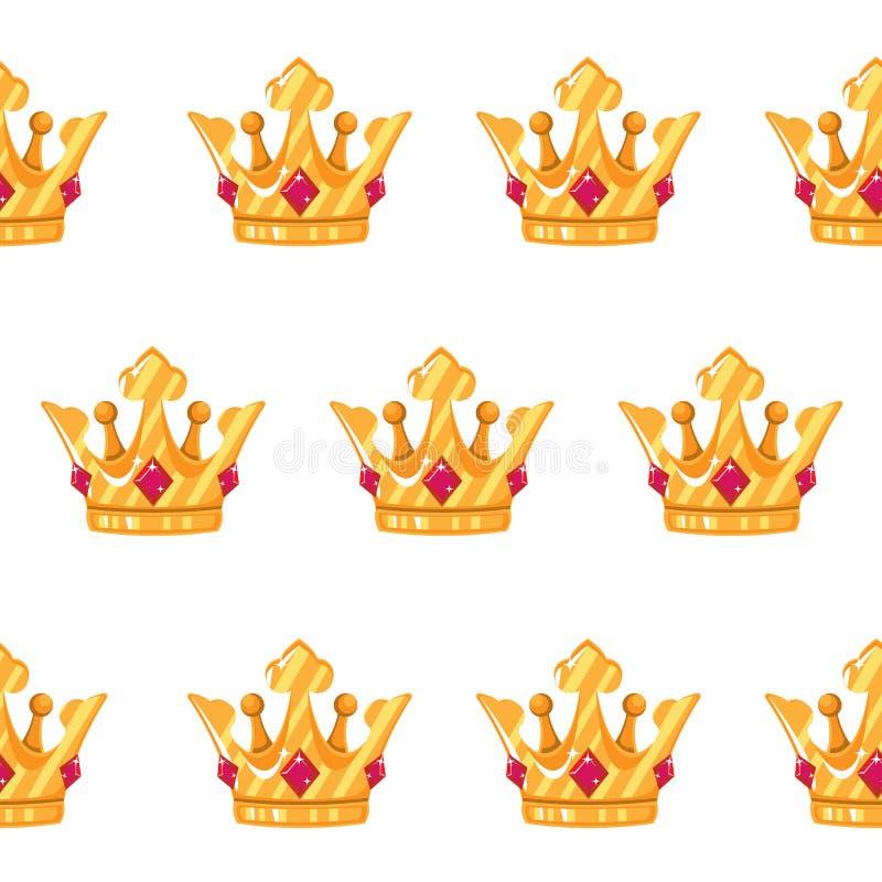 Ilustración del vector Modelo inconsútil de coronas Coronas del oro con las gemas Historieta del diseño del arte libre illustration
