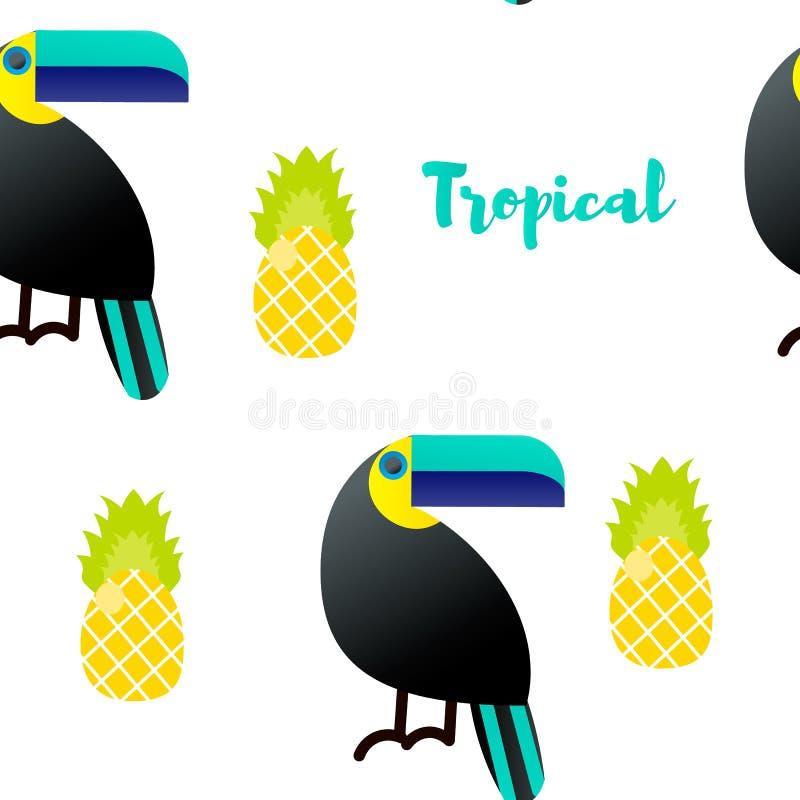 Ilustración del vector Modelo inconsútil Ornamentos tropicales Tucán, piña ilustración del vector