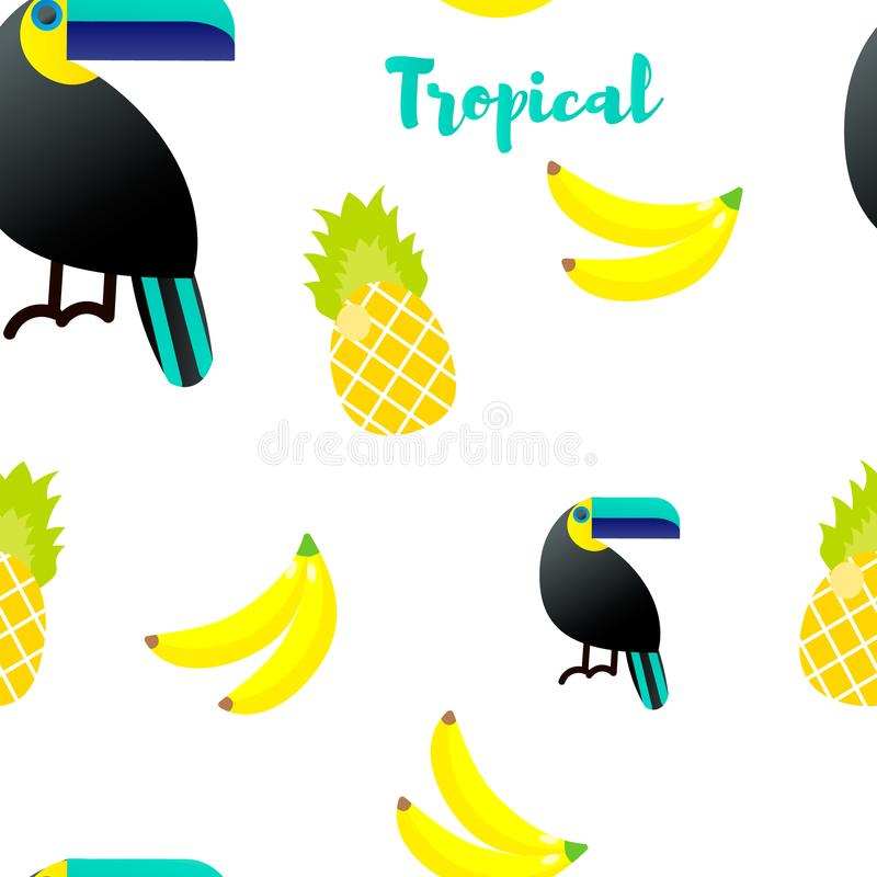 Ilustración del vector Modelo inconsútil Ornamentos tropicales Tucán, piña libre illustration