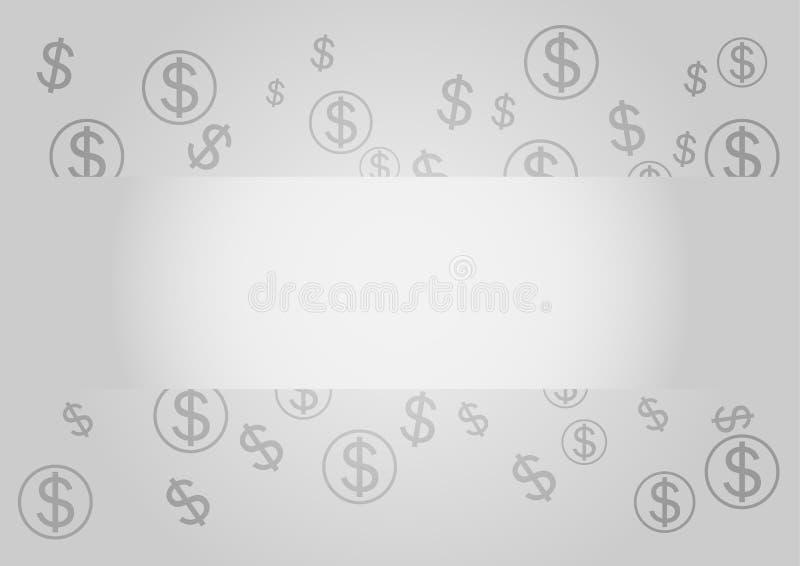 Ilustración del vector Muestras de dólar en fondo gris stock de ilustración