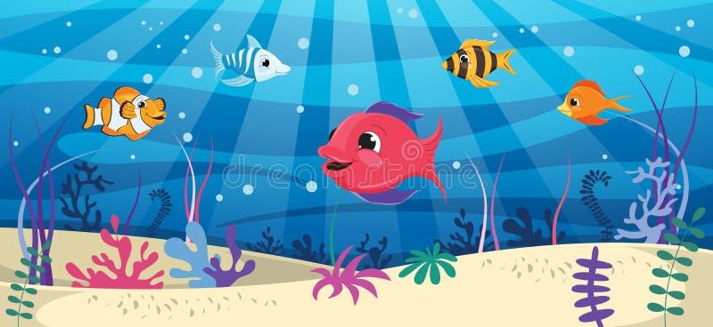 Ilustración del vector del mundo subacuático libre illustration