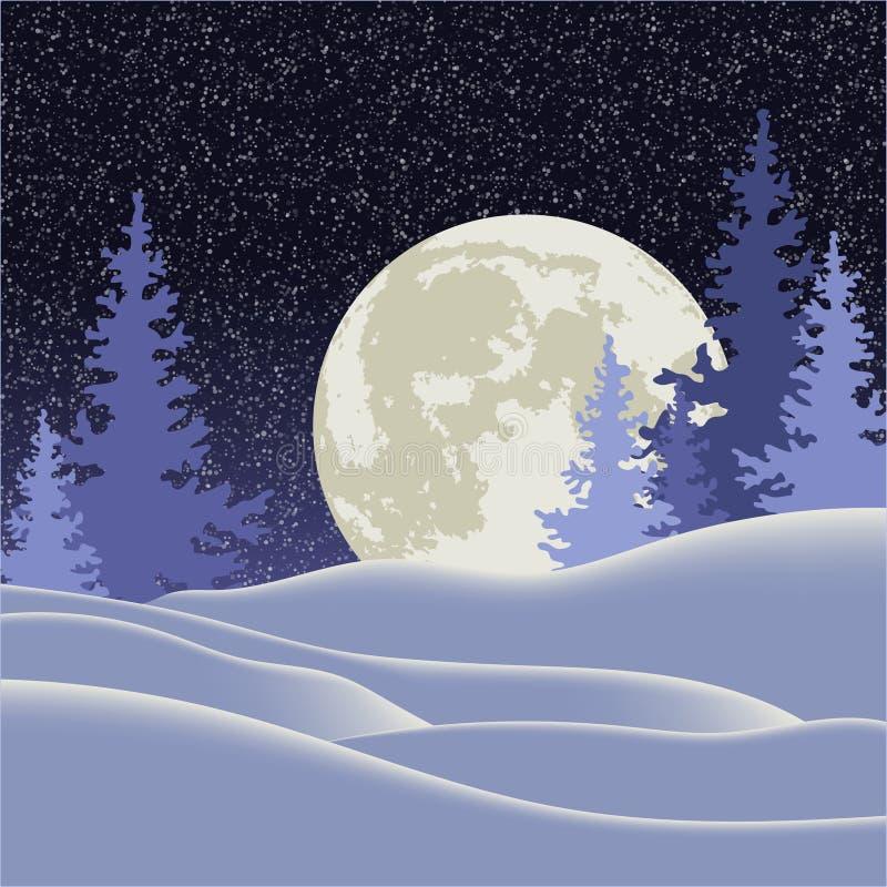 Ilustración del vector Navidad Paisaje del invierno de la noche con una Luna Llena ilustración del vector