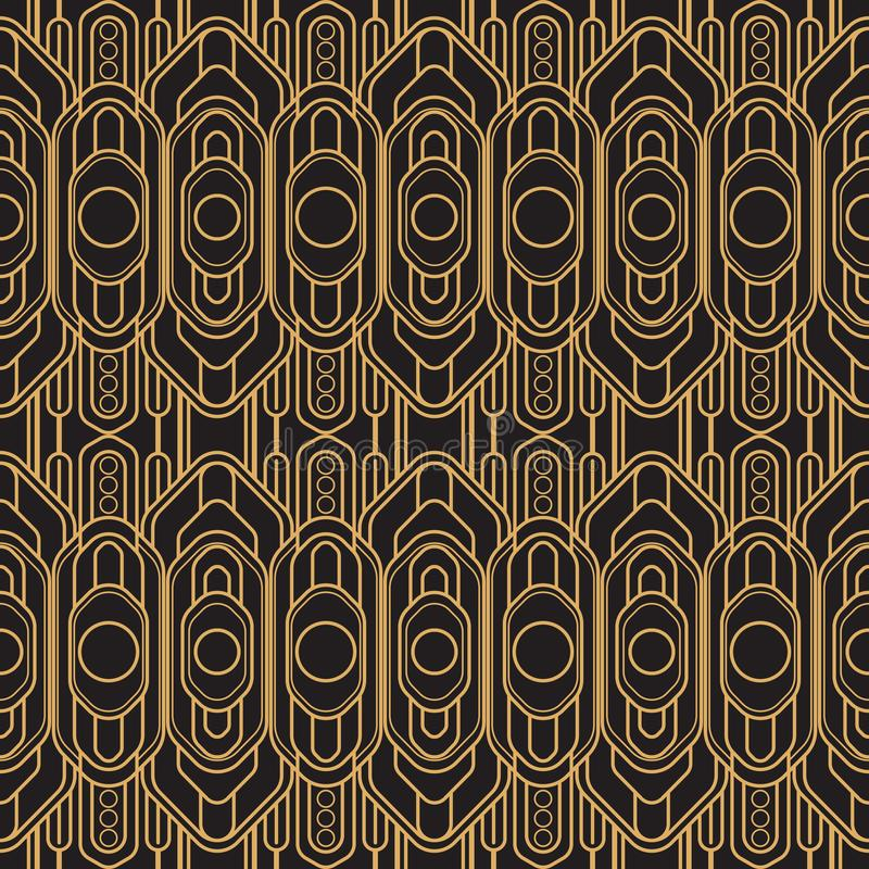 Ilustración del vector Nuevo estilo del ornamento geométrico inconsútil Un sistema de líneas coloreadas de cobre que cortan el az stock de ilustración