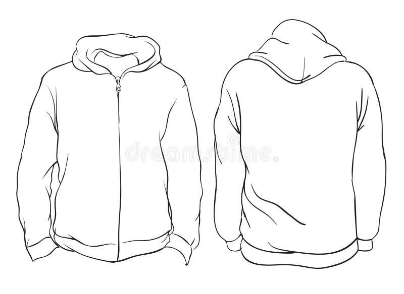 Ilustración del vector Opiniones delanteras y traseras de la chaqueta con capucha en blanco I stock de ilustración