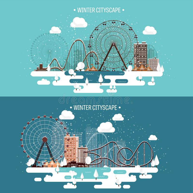Ilustración del vector Paisaje urbano del invierno Ciudad con nieve La Navidad y Año Nuevo Paisaje urbano Edificios Ferris Wheel ilustración del vector