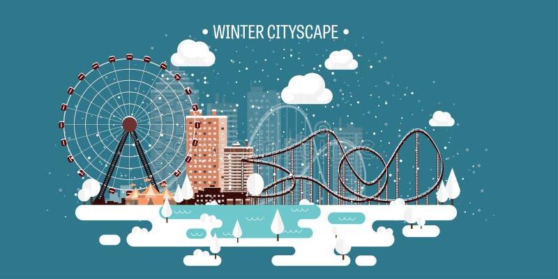 Ilustración del vector Paisaje urbano del invierno Ciudad con nieve La Navidad y Año Nuevo Paisaje urbano Edificios Ferris Wheel libre illustration