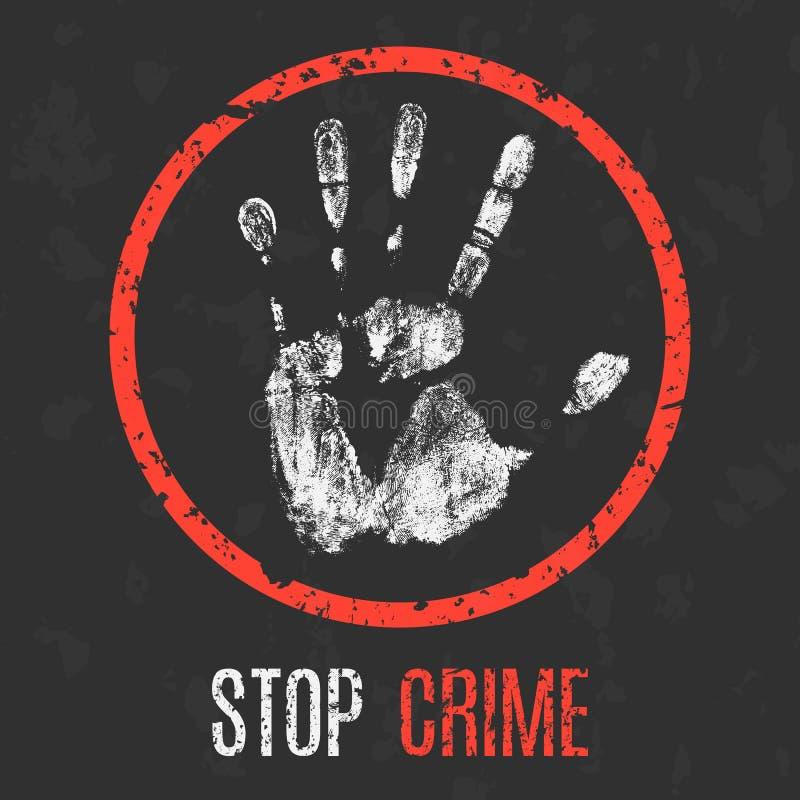Ilustración del vector Problemas globales de la humanidad Pare el crimen ilustración del vector