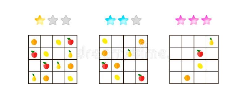 Ilustración del vector Sudoku para los niños con las imágenes en diferente stock de ilustración