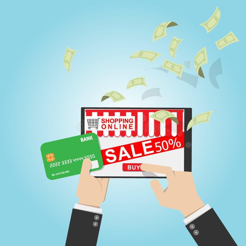 Ilustración del vector tarjeta de crédito del uso del hombre de negocios en tienda en línea en la tableta con descuento de la pro libre illustration