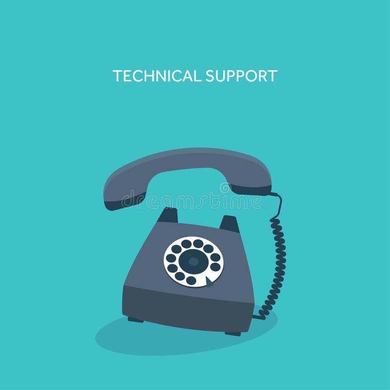 Ilustración del vector Teléfono retro Ayuda en línea técnica libre illustration