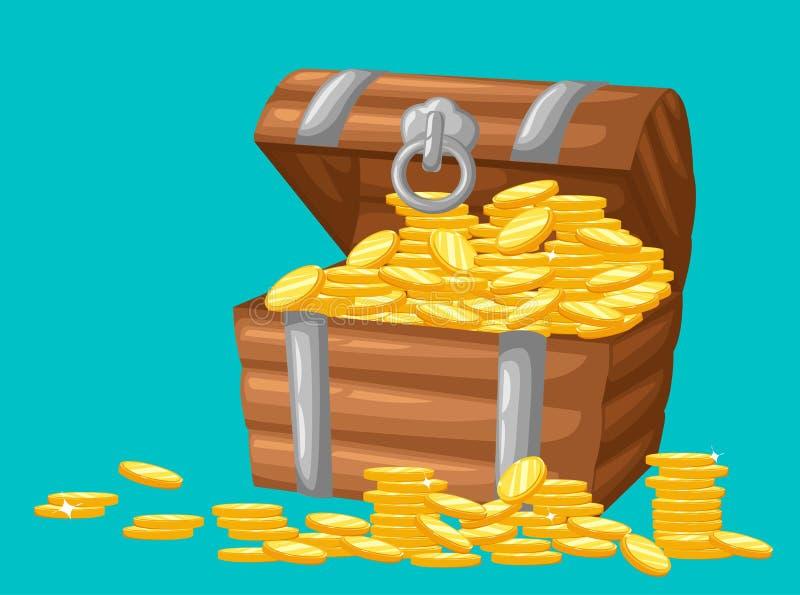 Ilustración del vector tesoro de las monedas de oro en el sistema de pecho de madera del fondo oscuro para la moneda del dinero d libre illustration