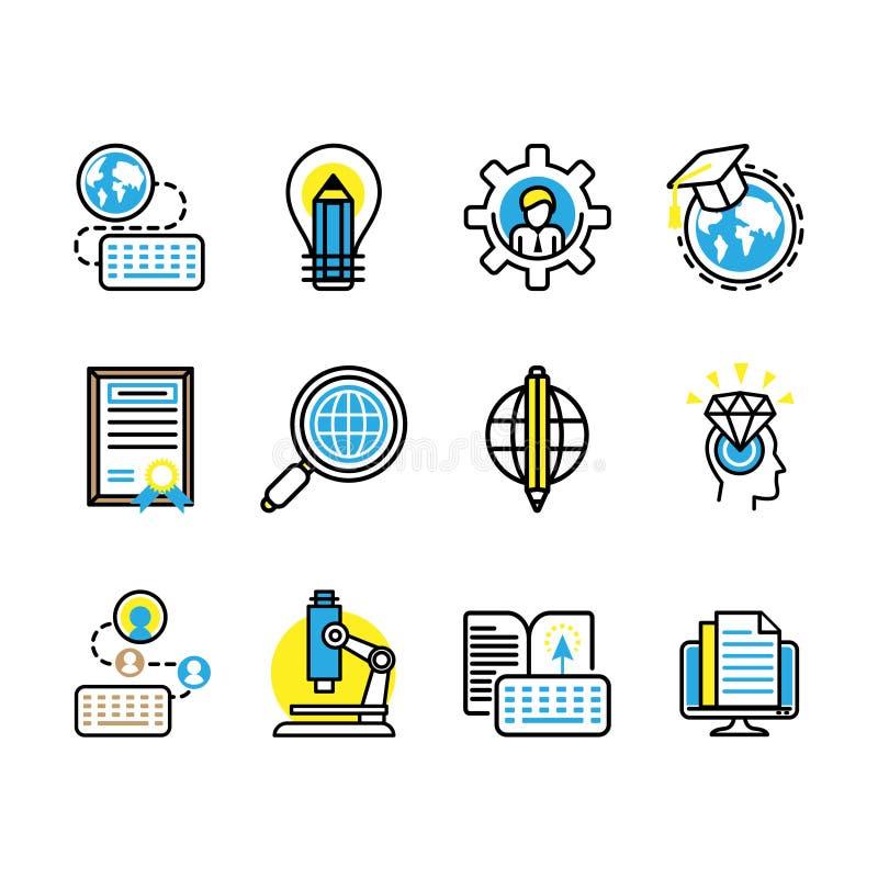 Ilustración del vector un sistema de 12 estudios llenó la educación de los iconos de la ciencia libre illustration