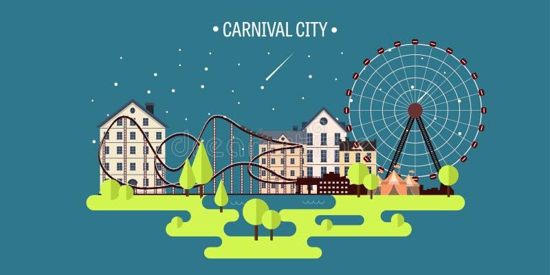 Ilustración del vector Verano de la primavera Ferris Wheel Fondo del funfair del carnaval Parque del circo Rascacielos con el rod libre illustration