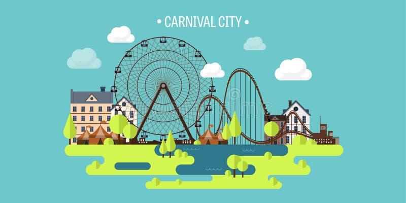 Ilustración del vector Verano de la primavera Ferris Wheel Fondo del funfair del carnaval Parque del circo Rascacielos con el rod stock de ilustración