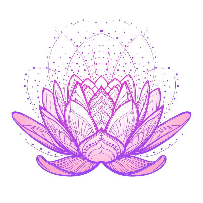 Ilustración del zen de la flor de loto Dibujo linear estilizado complejo en el fondo blanco fotografía de archivo