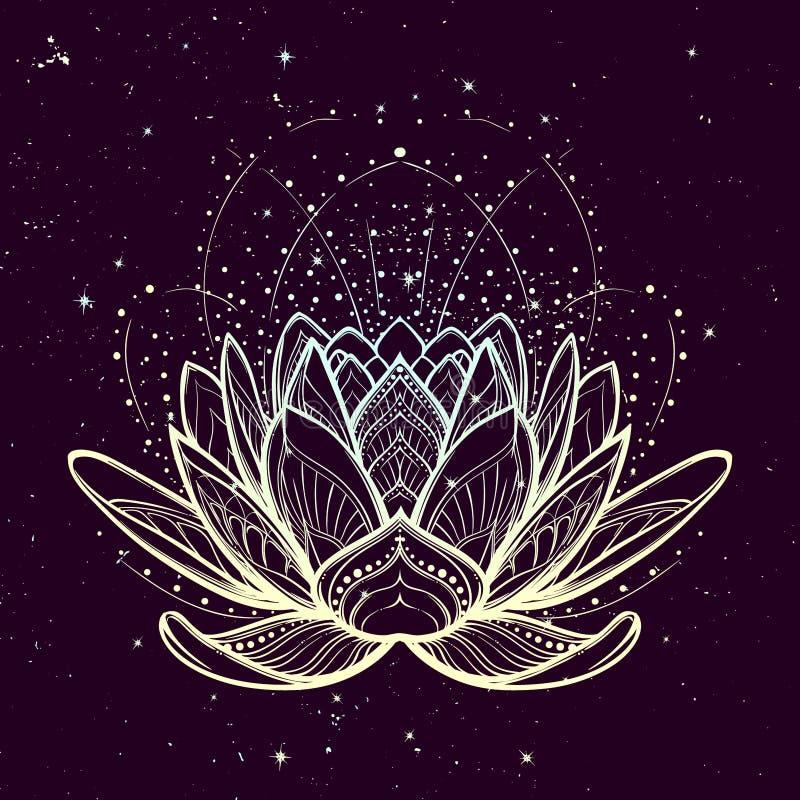 Ilustración del zen de la flor de loto Dibujo linear estilizado complejo en fondo estrellado del cielo del nignt libre illustration