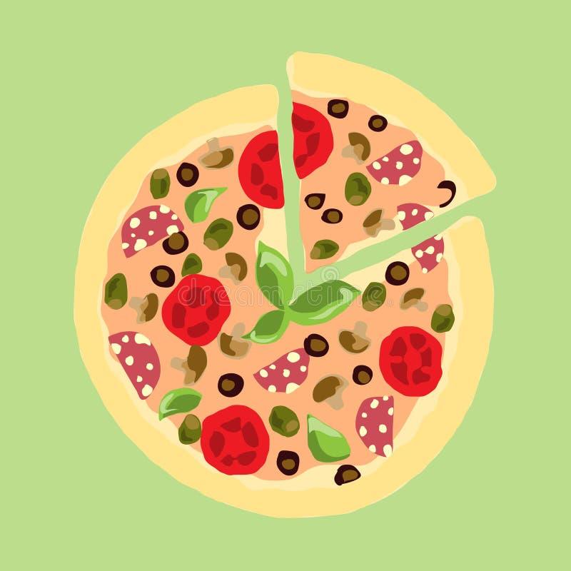 Ilustración Dibujo apetitoso del vintage de la pizza stock de ilustración