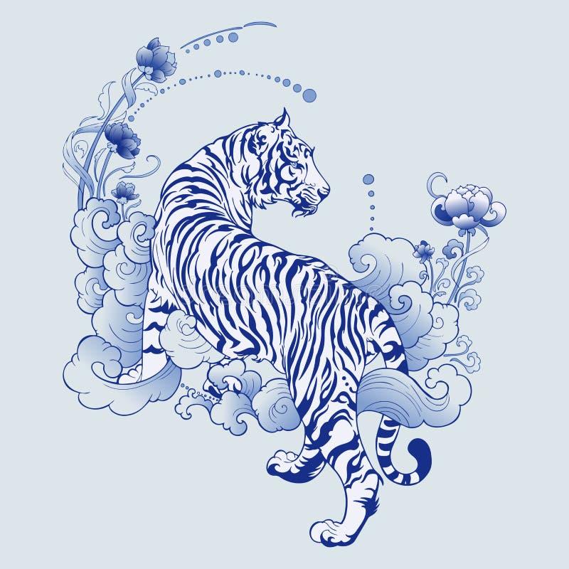 Ilustración diseño de tigre blanco en tatuaje azul Porcelana elementos de patrón sin fisuras ilustración del vector