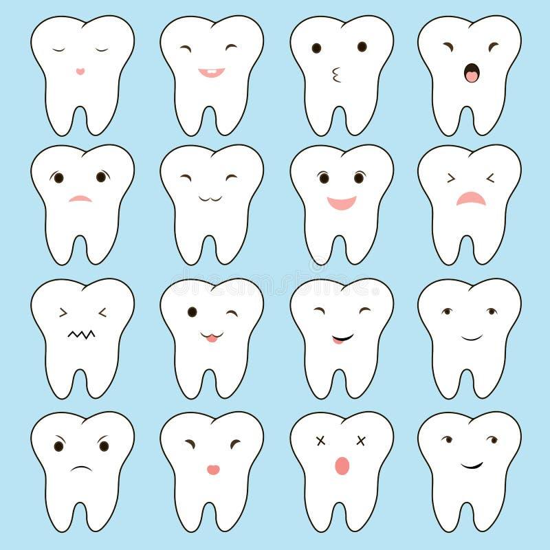 Ilustración divertida grande determinado del diente lindo de la historieta para su diseño del sitio web Concepto de dientes probl stock de ilustración