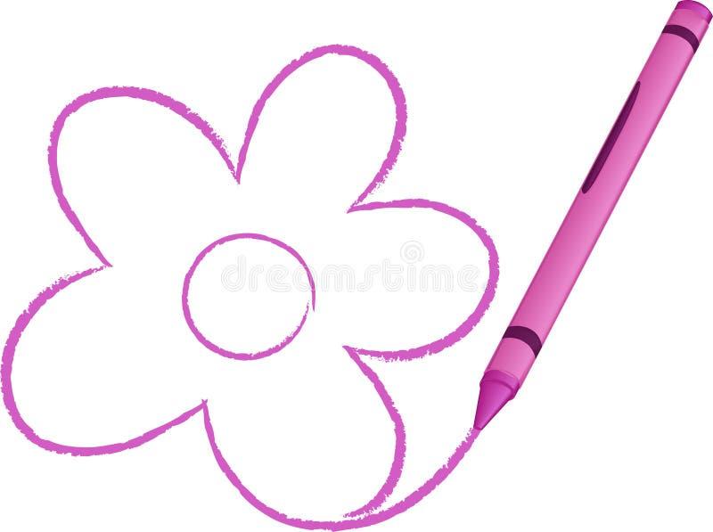 Ilustración drenada creyón del vector de la flor ilustración del vector