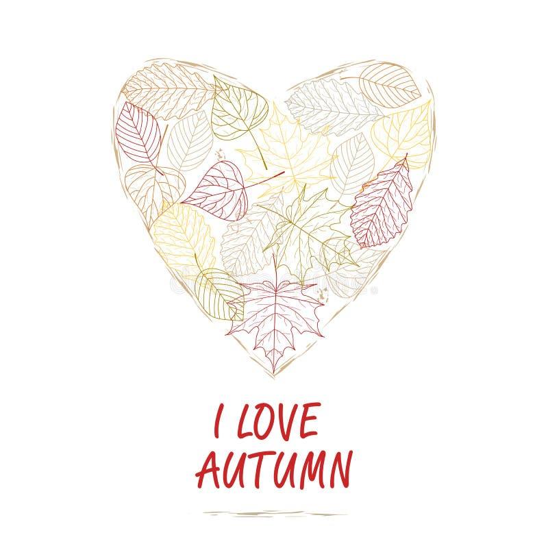 Ilustración drenada mano Corazón del fondo de las hojas de otoño Quiero otoño stock de ilustración