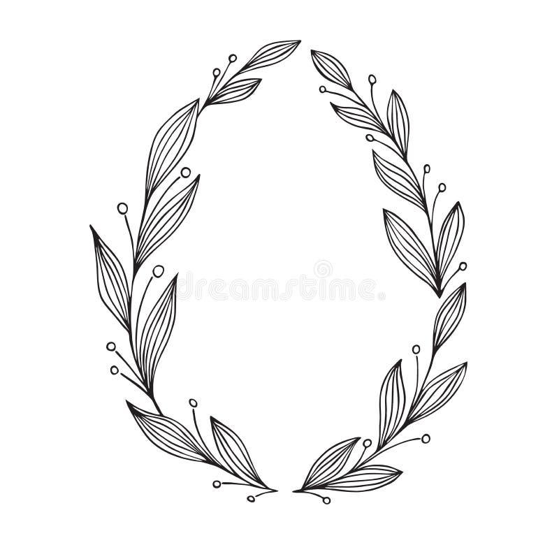 Ilustración drenada mano del vector Guirnalda decorativa del laurel del vintage Perfeccione para las invitaciones, tarjetas de fe stock de ilustración