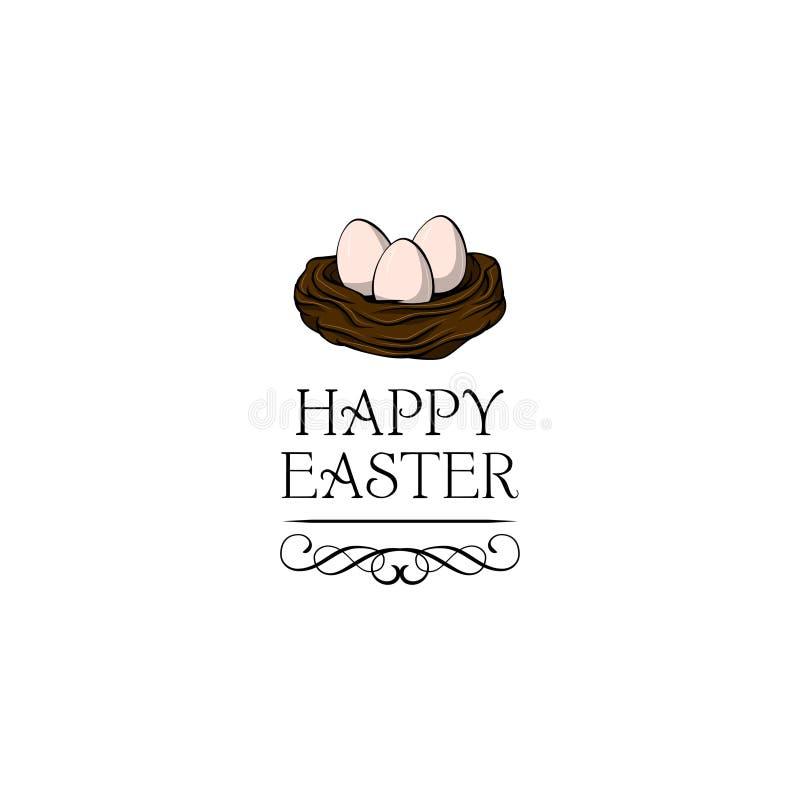 Ilustración drenada mano del vector Jerarquía feliz de la primavera de Pascua con los huevos del pájaro Vector stock de ilustración