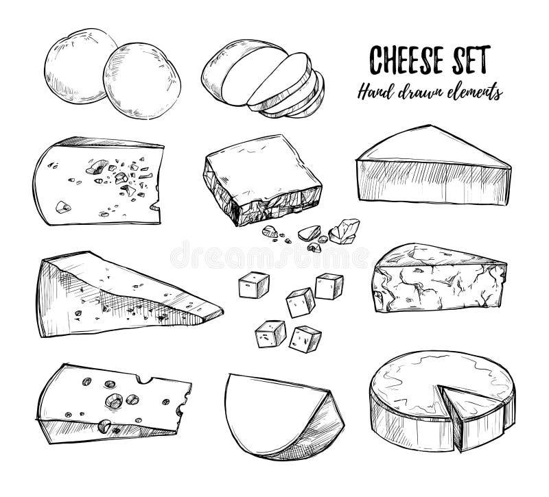 Ilustración drenada mano del vector Mozzarella determinada del queso, che azul stock de ilustración