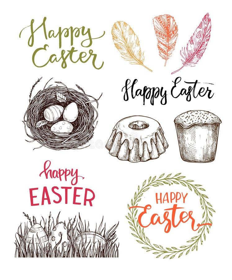 Ilustración drenada mano del vector ¡Pascua feliz! Elem del diseño de Pascua stock de ilustración